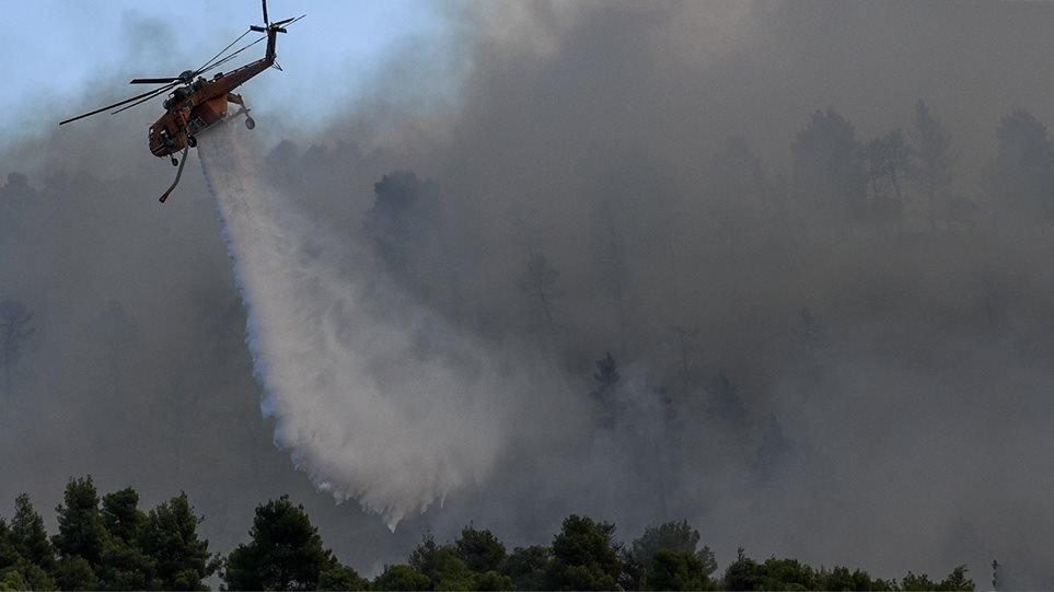 Φωτιά στην Εύβοια: Σε τέσσερα μέτωπα η μάχη με τις φλόγες