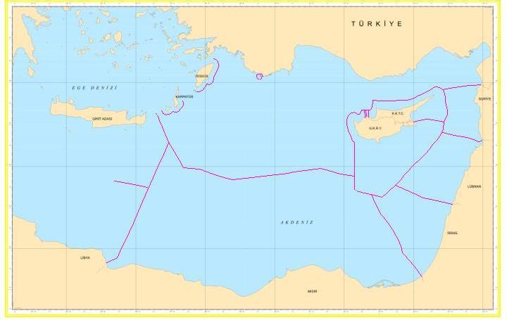 Ο χάρτης των ΑΟΖ όπως τον καταθέτει η Τουρκία